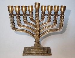 Régi réz hanuka hanukia gyertyatartó gyertya tartó zsidó vallás