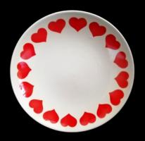 Retro jelzett Kispest Gránit szívecskés lapos tányér