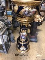 Meissen style- Aranyozott -képes porcelán kaspó posztamenssel