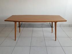 Retro skandináv stílusú régi polcos asztal mid century 120cm