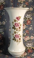Hollóházi nagyméretű rózsamintás váza 37 cm