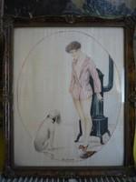 Antik selyemre festett kép 190924