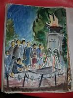 Illusztrációk Petőfi: Az apostol verses elbeszéléséhez, Varga Ferenc akvarelljei, 25 darab egyben