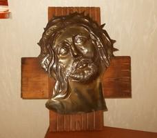 Jézust kereszten.ábrázoló réz kép. 40x37 cm