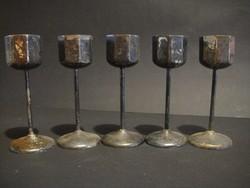 5 db-os Art deco likőrös készlet ,ezüstözött