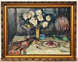 Vásárhelyi Kovács Tibor (1924) csendélet c. olajfestménye 92x72cm EREDETI GARANCIÁVAL !!!