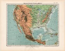 Amerikai Egyesült Államok térkép 1906, magyar atlasz, eredeti, USA, hegy, vízrajz, Amerika, észak