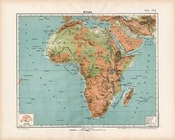 Afrika hegy- és vízrajzi térkép 1906, magyar atlasz, eredeti, régi, magyar nyelvű, Szahara, Nílus