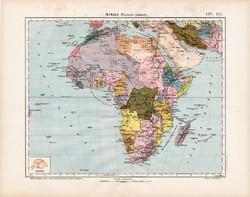 Afrika politikai térkép 1906, magyar atlasz, eredeti, magyar nyelvű, régi, politika, Szahara, Nílus
