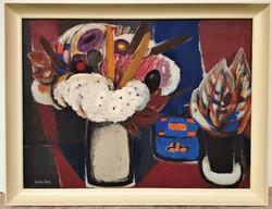 Balogh Ervin (1925 - ) Csendélet c.Képcsarnokos olajfestménye 86x66cm EREDETI GARANCIÁVAL !!!