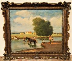 Csapó Jenő (1875 - 1954) Lovak fürdetése c olajfestménye 75x65cm EREDETI GARANCIÁVAL !!!
