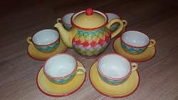 Kerámia teás csészék+alj 6db+ tea kanna