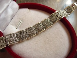 Markazit köves art deco, tömör ezüst karkötő 925