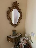 Antik velencei barok fa faragott falitükör kis konzol asztalkával