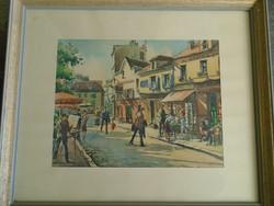 Dél Francia  akvarell egy világhírű művésztől   galériás keretben utcarészlet