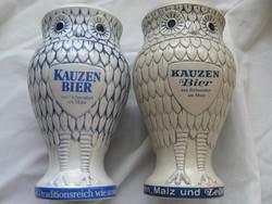 KAUZEN BIER bagoly forma fajansz kupa, váza