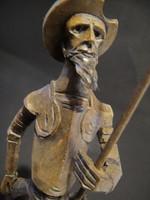 Régi OURO Artesania(Spanyol) kézi faragott faszobor ,Don Quijote....jelzett