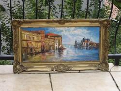 Eladó ismeretlen festő antik Velence, Grand Canal olaj, fa festménye