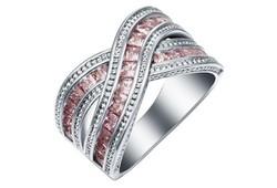 Pink színű köves gyűrű 7-es