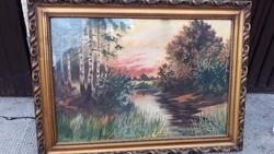 Nagyméretű Vízparti Festmény Keretáron