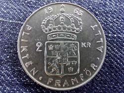 Svédország VI. Gusztáv Adolf (1950-1973) .400 ezüst 2 Korona 1963 U / id 10661/