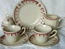 Krém és barna porcelán kávés szett 7 darabos, kistányér, kiöntő, cukortartó, csésze