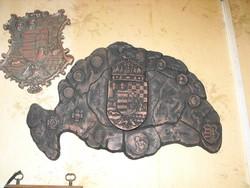 Nagy Magyarország irradenta címer plakett 60cm Fém öntvény kemence kandalló dísz