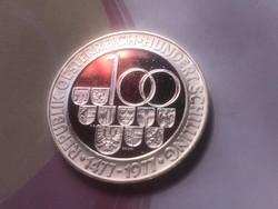 1977 ezüst 100 Schilling 24 gramm 0,640 PP Ritka