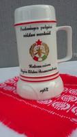 Hollóházi porcelán korsó, eredményes polgári védelmi munkáért 1987  szocialista
