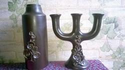 3 ágú kerámia gyertyatartó , virág vázával