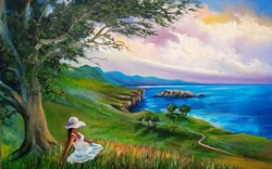Romantic tern beach oil painting in a nice frame with free home delivery