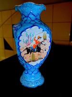 Aprólékos mintával  kézzel festett zománc váza- szép kézműves munka