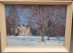 Holba Tivadar (1906 - 1995 ) A Kastély télen c.olajfestménye Garanciával !