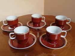 5 db-s barna retro hollóházi porcelán kávés készlet