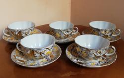 Álomszép rendkívül gazdagon festett pillekönnyű antik orosz porcelán teás/kávés készlet