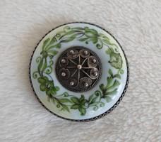 Antik, kézzel festett gyönyörű porcelán bross