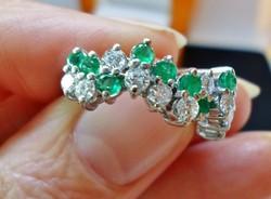 Szépen megőrzött antik smaragd és0.66ct gyémánt arany gyűrű