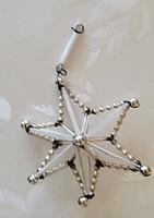 Régi üveg karácsonyfadísz ezüst csillag