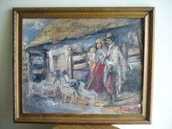 51x42-43x34cm Takács Mihály Parasztudvar festmény szignozott