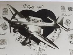 Régi Vh. képeslap repülőgép fotó bélyeg kép 1944