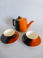 Extrém ritka,Gránit,art deco narancssárga,fekete kávéskészlet