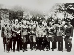 Régi mini fotó katona csoportkép fénykép 2 db