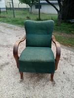 Régi art deco hajlított fa karfás fotel rugós üléssel