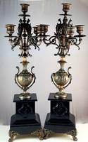 Gyonyoru antik bronz/marvany gyertyatartok 19sz