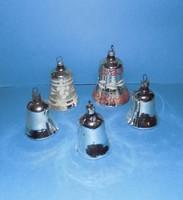 Régi üveg csengő karácsonyfadísz csomag 5 db