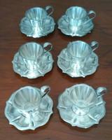 Ezüst kávéskészlet, 6 csésze és alj