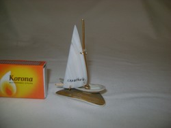 Retro balatoni emléktárgy - vitorlás hajó kagylóból, Keszthely felirattal