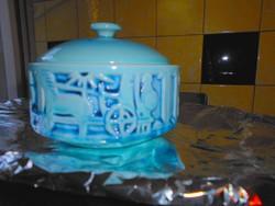Zsolnay kék alapmázas nagyméretű  bonbonier , doboz