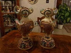 Antik pazar 1880as Fischer váza pár! 40cm!