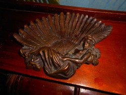 Antik bronz súlyos névjegy tál